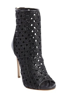 Giuseppe Zanotti black leather woven detail open toe booties