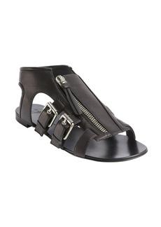 Giuseppe Zanotti black leather zip front strappy flat sandals