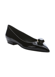 Giuseppe Zanotti black patent leather jewel embellished flats