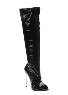 Giuseppe Zanotti black patent leather over the knee peep toe boots