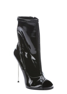 Giuseppe Zanotti black patent leather peep toe stiletto boots