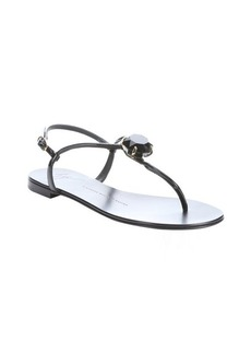 Giuseppe Zanotti black patent leather t-strap embellished sandals