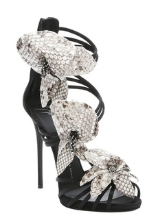 Giuseppe Zanotti black python embossed flower detail 'Coline' sandals