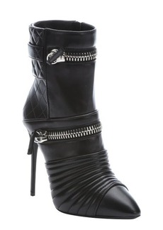 Giuseppe Zanotti black quilted leather zipper accent booties