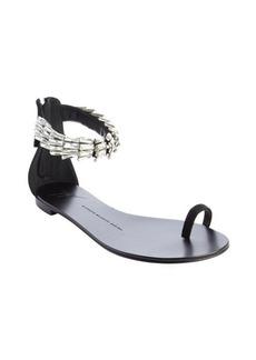 Giuseppe Zanotti black 'Rock 10' jeweled strap flat sandals