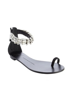 Giuseppe Zanotti black 'Rock 10' jeweled strap flat sandals