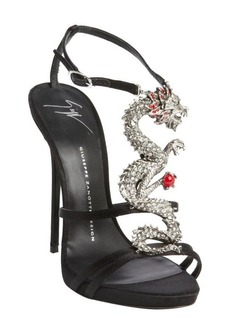 Giuseppe Zanotti black satin strappy dragon emblem sandals