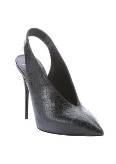 Giuseppe Zanotti black scaled leather 'Yvette' pointed toe slingback heels