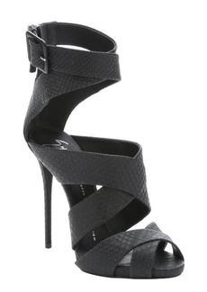 Giuseppe Zanotti black snake embossed 'Coline' strappy sandals