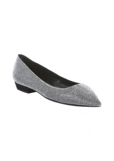 Giuseppe Zanotti black suede and silver crystal embellished pointed toe flats