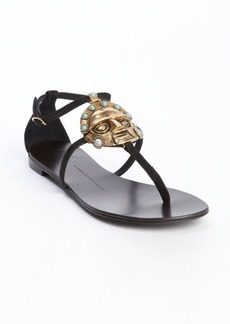 Giuseppe Zanotti black suede aztec inspired emblem detail sandals