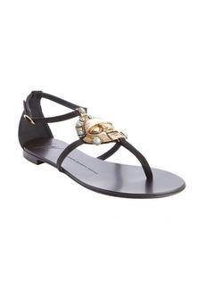 Giuseppe Zanotti black suede aztec inspired emblem detail sandals
