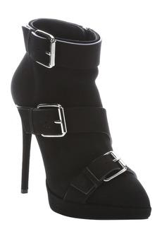 Giuseppe Zanotti black suede buckle detail 'Emy' booties