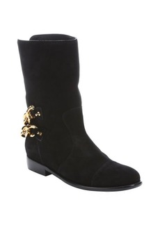 Giuseppe Zanotti black suede chain detail 'Cobain' boots