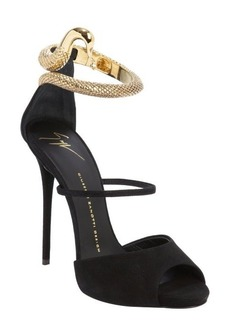 Giuseppe Zanotti black suede coil snake buckle detail peep toe sandals