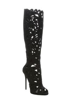 Giuseppe Zanotti black suede 'Coline' floral cutout rear zip ...