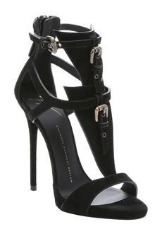 Giuseppe Zanotti black suede 'Coline' t-strap stiletto sandals