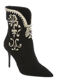 Giuseppe Zanotti black suede crystal embellished 'Lucrezia' ankle booties