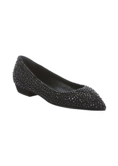 Giuseppe Zanotti black suede crystal studded detail pointed toe flats