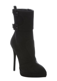 Giuseppe Zanotti black suede 'Emy' buckle detail mid-ankle stiletto boots