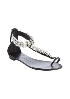 Giuseppe Zanotti black suede jewel covered t strap sandals