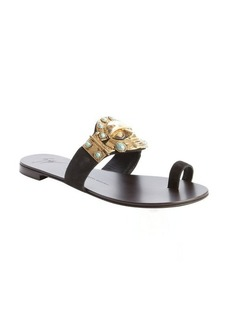 Giuseppe Zanotti black suede metal and turquoise embellished flat sandals