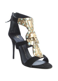 Giuseppe Zanotti black suede metal and turquoise embellished strappy ...