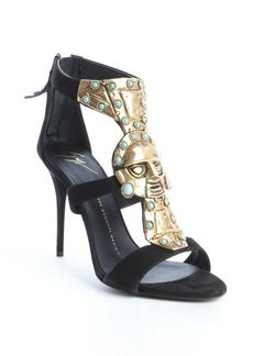 Giuseppe Zanotti black suede metal and turquoise embellished strappy sandals