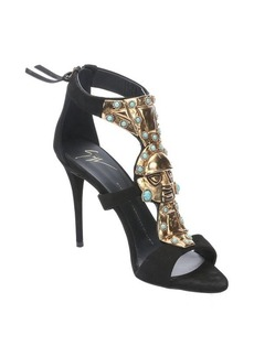 Giuseppe Zanotti black suede open toe embellished sandals