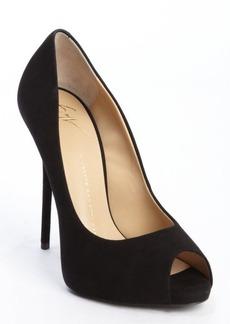 Giuseppe Zanotti black suede peep toe pumps