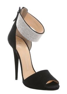 Giuseppe Zanotti black suede rhinestone ankle cuff stiletto sandals