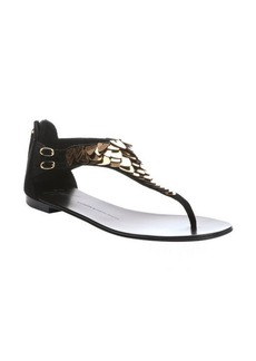 Giuseppe Zanotti black suede scale embellished t-strap sandals