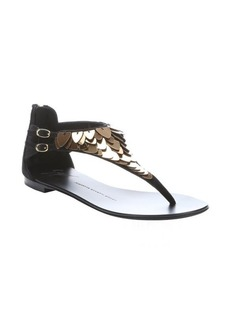 Giuseppe Zanotti black suede scale embellished t-strap thong sandals