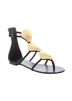 Giuseppe Zanotti black suede shell detail 'Rock' sandals