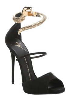 Giuseppe Zanotti black suede snake-effect metal 'Coline' stiletto sandals
