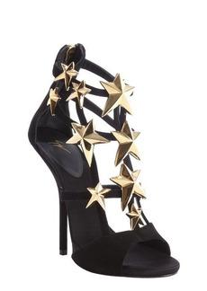 Giuseppe Zanotti black suede star studded 'Aliek' platform sandals