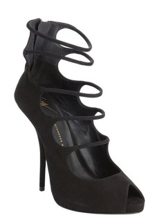 Giuseppe Zanotti black suede strap cut out peep toe pumps