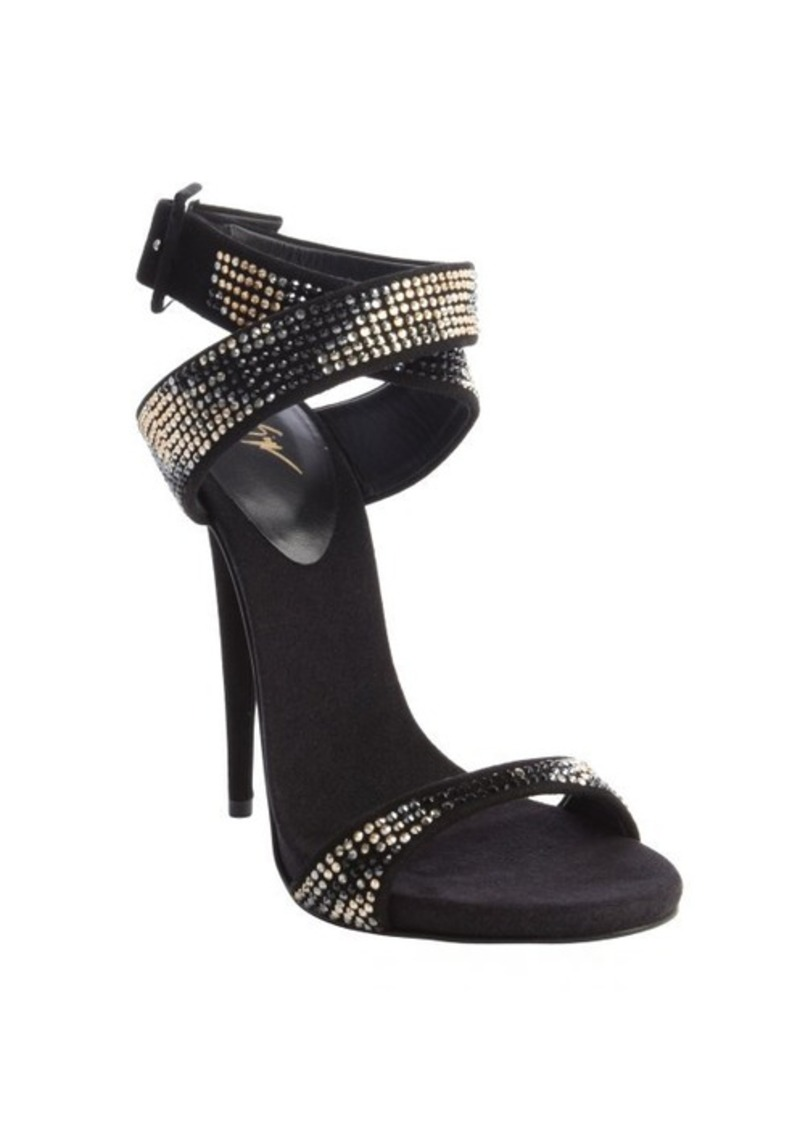 Giuseppe Zanotti black suede strappy embellished detail pumps