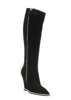 Giuseppe Zanotti black suede 'Yvette' chainlink detail knee-high wedge boots