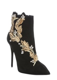 Giuseppe Zanotti black suede 'Yvette' crystal and leaf embellished stiletto boots