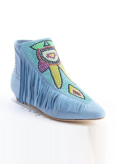 Giuseppe Zanotti blue suede beaded detail fringe booties