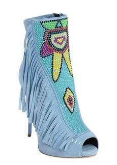 Giuseppe Zanotti blue suede embellished peep toe 'Coline' heeled ankle boots