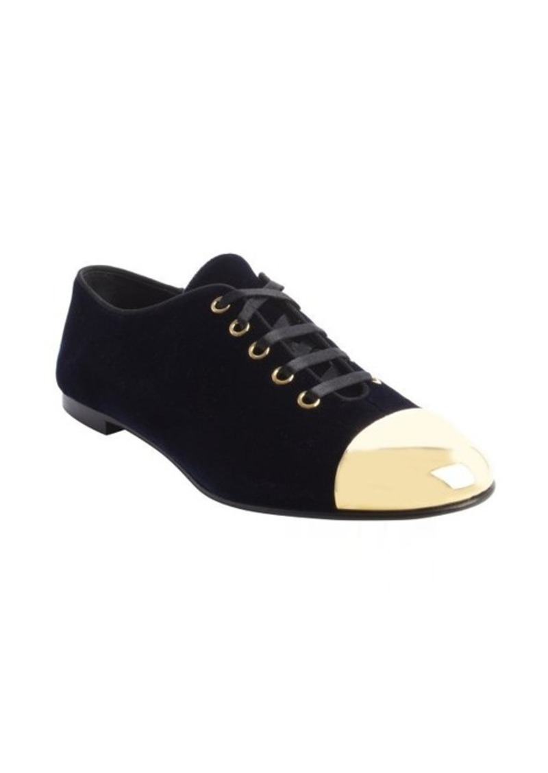 Giuseppe Zanotti blue velour 'Dalila 05' goldtone cap toe lace up sneakers