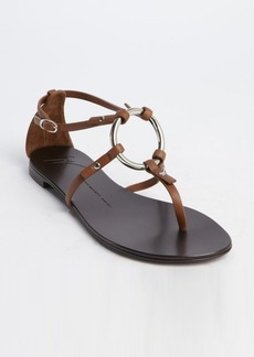 Giuseppe Zanotti brandy leather o-ring flat sandals