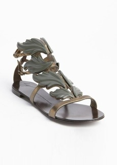 Giuseppe Zanotti bronze leather leaf detail flat sandals