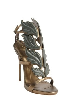 Giuseppe Zanotti bronze leather leaf vamp open toe heel sandals