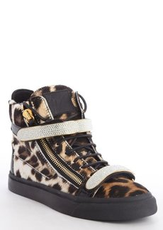 Giuseppe Zanotti brown and black leopard print calf hair crystal studding fastening tape sneakers