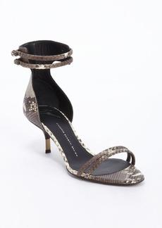 Giuseppe Zanotti brown and ivory snake embossed anklestrap kitten heel sandals
