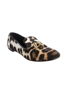 Giuseppe Zanotti brown animal print calf hair tooth detail loafers