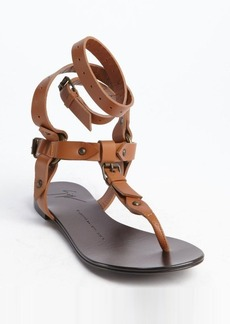 Giuseppe Zanotti brown leather segmented thong gladiatrix sandals